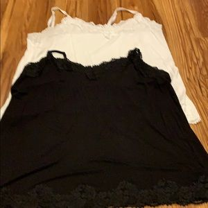 Lane Bryant Black and White Camisoles